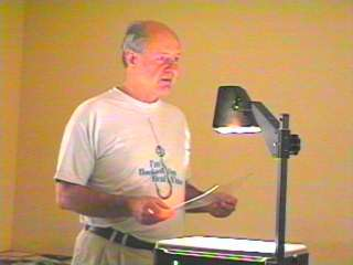 Chuck at overhead projector